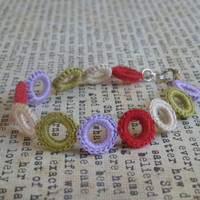 Colorful Rings Crochet Bracelet