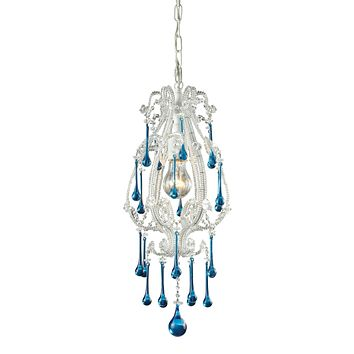 Opulence 1 Light Pendant In Antique White And Aqua Crystal