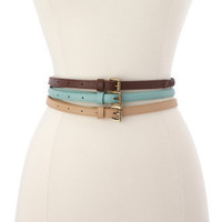 Braided, Solid & Studded Belt Trio
