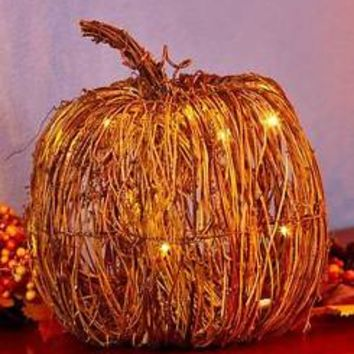 LED Lighted Large Woven Pumpkin Table Centerpiece Fall Thanksgiving Home  Decor Part 34