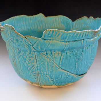 Ceramic Bowl in Turquoise- wedding gift - dinnerware - statement piece - organic shape turquoise