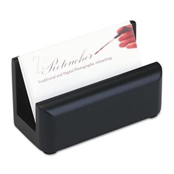 Eldon Office Products 62522 Wood Tones Business Card Holder, Capacity 50 2 1/4 x 4 Cards, Black