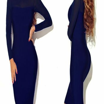 Sapphire Blue Patchwork Grenadine Prom Evening Party Bodycon Long Sleeve Midi Dress