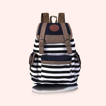 New Arrival Lady Girl Women Unisex Backpack Canvas Stripe Leisure School Bag