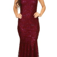 Sleeveless Lace Sequins Fit and Flare Evening Gown Burgundy Floor Length