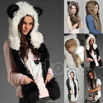 Faux Fur Hood Animal Hoods Cap Plush Hats With Scarf Paws Sets Caps Beanies