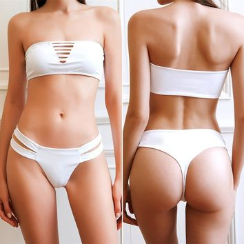 Bikini white split swimsuit ladies sexy swimsuit thong