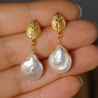 White Freshwater Pearl and 22K Gold Vermeil Earrings