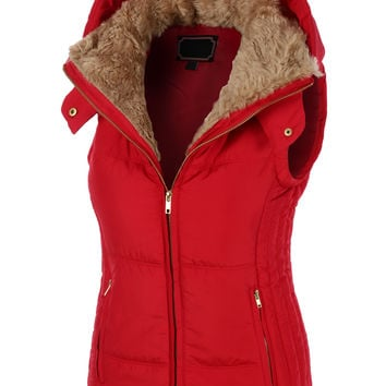 LE3NO Womens Fully Lined Padded Puffer Jacket Vest with Hoodie