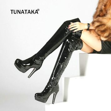 Patent Leather Sexy Thigh High Heel Boots Winter Women Over the Knee Boots Plus Size Shoes Platform Zipper Red Black Color