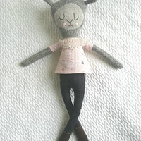 Sweet Sock Llama Doll wearing skinny jeans!  She's soft and plushie perfect for christmas, hand embroidered face