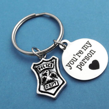 You're my policeman, You're my person, Heart, Keyring, Police, Policeman, Keychain, Police, Key ring, Lovers, Husband, Friends, Gift