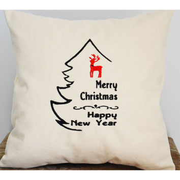 Embroidered Christmas Tree , Christmas pillow cover, Christmas pillow case, Christmas gift pillow cover , reindeer pillow cover