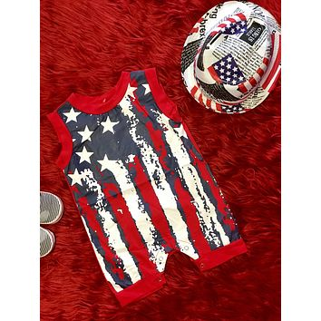 2018 Summer 4th Of July Boys Red White & Blue Boys Romper