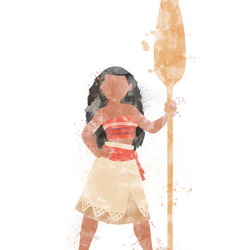 Moana, Disney Princess, Moana Poster, Watercolour Art, Printable Instant Download