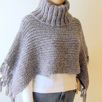 Turtle Neck Chunky Poncho Cowl Sweater Knit Capelet Neckwarmer Shoulder Wrap Women Clothing Fashion Accessories Made To Order