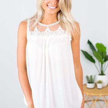 Embroidered Mesh Tank- White