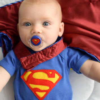 Super Baby on a CLEAR AVENT Pacifier 6 months or older - Custom Hand Painted Pacifier