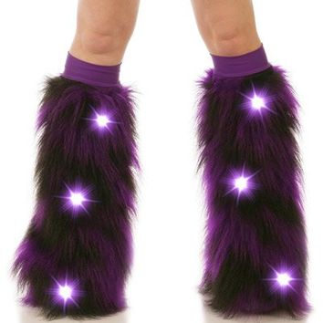 Ortzi Light Up LED Fluffies : Purple and Black Camo Pattern LED Fluffy Legwarmers from Indyglo