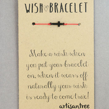 Sideways Cross Bracelet : Wish Bracelet, Matte Black, Delicate, Tiny, ArtisanTree, Friendship, Gift, Make a Wish, Good Luck, Red Silk