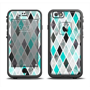 The Graytone Diamond Pattern with Teal Highlights Apple iPhone 6 LifeProof Fre Case Skin Set