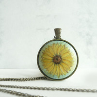 Gorgeous Sunflower Pendant Necklace, Retro Vintage Style, Antique Bronze Bezel Charm with Tiny Flower Painting