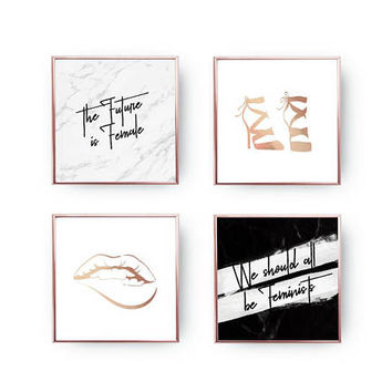 SET of 4 Prints, The Future Is Female, Fashion Chic, Home Decor, Gold Foil Print, Woman Decor, Feminist Quote Set, Makeup Art, Glamour Print