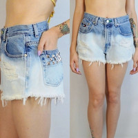 90s High Waist Shorts Cutoff Tommy Hilfiger 26 27 Denim Jean Studded Dip Dye Soft Grunge Hipster Distressed Vintage Womens Clothing