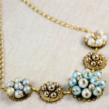 Vintage earring necklace light blue ivory gold cluster pearls glass vintage wedding Great Gatsby 50's 60's retro repurposed upcycled chunky