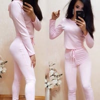 Sleeve Shirt Sweater Pants Sweatpants Set Two-Piece Sportswear