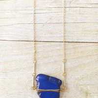 Blue Wire Wrapped Pendant Long Necklace