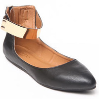 Vedette Pointy Toe Flat metal plate detail by Fashion Lab