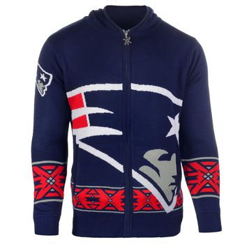 New England Patriots NFL 2015 Big Logo Ugly Full Zip Hoodie Holiday Sweater