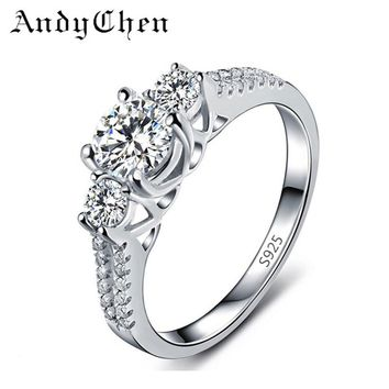 AndyChen Silver Plated CZ Diamond Jewelry Vintage Wedding Rings for Women Bijoux Bague Femme Engagement Ring Accessories ASR011