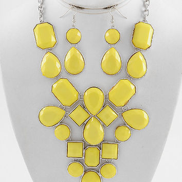 Yellow Bubble Bib fashion necklace and earring set adjustable