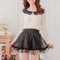 Kawaii Lolita Sweet Gauze Splicing Bubble Skirt - Black, Red or Apricot - S M L from Tobi's Finds