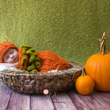 Baby Pumpkin Hat & Cocoon Photo Prop Set. Autumn Fall Baby Crochet Snuggle Sack Set.