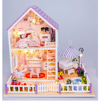 Newest DIY Wood Doll House with Furniture,Romantic Purple House Miniature Dollhouse Assembling Toys for Kid's Birthday Present