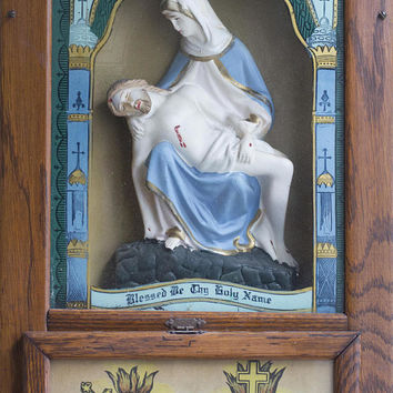 Antique The Pieta Religious Shadow Box, Vintage Catholic Church Built in Shadowbox, Jesus and Mary Sacred Heart, Last Rites Wall Shrine