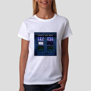 Classic Women Tshirt  Doctor Who Tardis Box Stained Glass