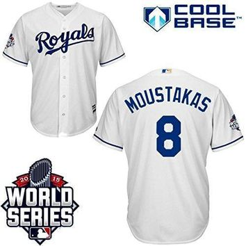 Mike Moustakas Kansas City Royals #8 Mlb Men's Cool Base 2015 World Series Champions Patch Home Jersey (small)