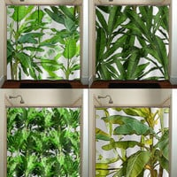 Tropical Jungle Green Palm Banana Leaf Shower Curtain bathroom decor fabric kids bath window curtains panels valance bathmat