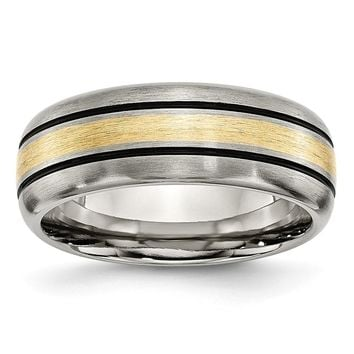 Men's Titanium Grooved 14k Yellow Inlay Brushed and Antiqued Wedding Band Ring