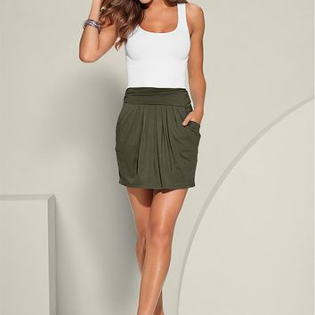 Charcoal Grey Easy Pleated Mini Skirt | VENUS