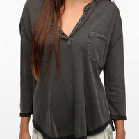 Urban Outfitters - Ecote Washed Split Neck Henley Tee