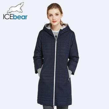 PEAPYV3 ICEbear 2017 Spring Autumn Long Cotton Women's Coats With Hood Fashion Ladies Padded Jacket Parkas For Women 17G292D