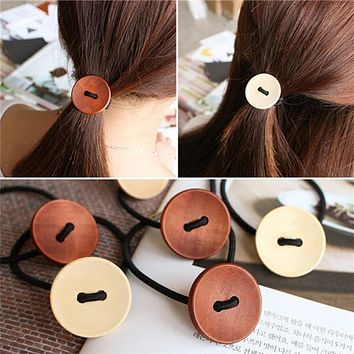 2017 New Summer Style Solid wood Button Hair Accessories for Girls Kids Women Elastic Hair Bands Rubber Bands Headwear