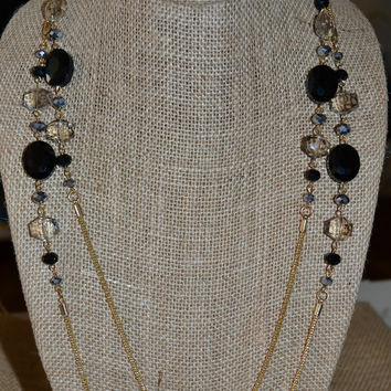 Long Gold Necklace w/Black and Pewter Crystals
