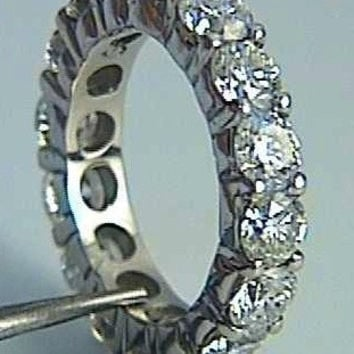 5.10ct Platinum Round Diamond Wedding Band Diamonds Eternity Ring JEWELFORME BLUE