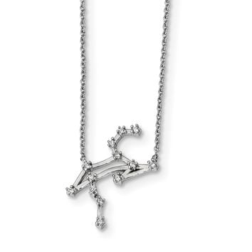 925 Sterling Silver Rhodium-Plated with Leo Constellation Cubic Zirconia Necklace 16.5 Inch